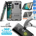 9H Real Tempered Glass Film &Dual Layer Protective Armor Case Kickstand LG G4 G5