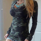 Sexy Women Blouse Long Sleeve Camouflage Casual Shirt Cotton Loose T-Shirt Tops