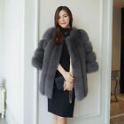 Fashion 100% Real Whole Fox Fur Coat Half Sleeve Genuine  Fox Outwear Jacket