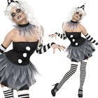 Ladies Scary Clown Fancy Dress Costume Circus Pierrot Halloween Outfit Smiffys