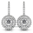 1.92ct tw F-SI3 Exc Round Natural Diamond 14k Vintage Style Drop Earrings 2.43gr
