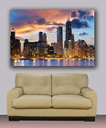 "Wall Art Canvas Print Picture Chicago Skyline Huge 40""x30"" Downtown"
