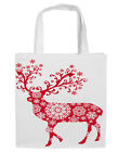 CHRISTMAS REINDEER FESTIVE WHITE COTTON TOTE BAGS CANVAS STRAP SHOULDER