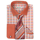 Daniel Ellissa Mens Horizontal Stripe Tone on Tone Rust Dress Shirt Set DS3783P2