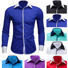 Luxury Mens Formal Slim Fit Dress Shirt Long Sleeve Smart Casual Shirts Top New