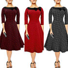 Vintage 50s Dress Rockabilly Evening 60s Swing Party  Housewife Women Formal Bow