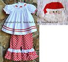 Smocked A Lot Christmas Santa Red Polka Dot Fluffy Beard Ruffle Pants Set Dress