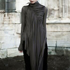 BLACK GOTHIC LONG SLEEVES DRAPE ASYMMETRICAL HEM WRAP DRESS SHIRT BLOUSES