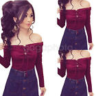 New Women's Casual Long Sleeve Shirt Lace-Up Tops Blouse Off Shoulder T-Shirt