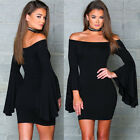 Women's Shoulder Off  Long Flare Bell Sleeve Bandage Evening Party Mini Dress