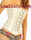 Gothic Bridal White Leather Corset Overbust Steel Studded Top 1232W