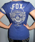 New Sexy FOX RACING RIDERS Blue RIDE TO THRILL T Shirt Top GRAPHIC LOGO S M L