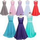 Girls Long Chiffon Lace Formal Party Ball Gown Prom Bridesmaid Dress Size 4-14Y