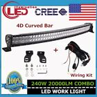 43inch CREE 240W 4D CURVED Spot Flood LED Light Lamp Offroad SUV With Wiring Kit
