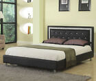 NEW MAXINE CONTEMPORARY WHITE BLACK BYCAST LEATHER QUEEN PLATFORM BED