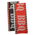 BBQ Barbecue Word Jacquard Cotton Kitchen Towel Set 2 Tea Towels Vintage Style