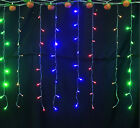 4x0.8M 128LED Xmas Icicle Lamp String Curtain Fairy Lights Party Chirstmas Decor