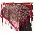 New! SJ08 Deluxe Vintage Velvet Belly Dance Hip Scarf Tassel Fringe Belt Costume