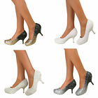 Ladies Glitter Diamante Kitten Low Mid Heel Platform Wedding Bridal Party Pumps