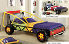 NEW RACER RED & YELLOW OR BLACK & SILVER FINISH METAL TWIN SIZE RACE CAR BED