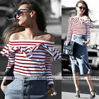 Sexy Lady Off Shoulder Frill Ruffles Striped Cotton Slim Tops Long Sleeve Blouse