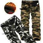 Men Army Cargo Camo Camouflage Work Windproof Trousers Winter Warm Pants