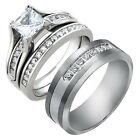 His and Hers Stainless Steel Princess Cut Wedding Ring Set Tungsten Wedding Band