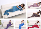 Women's Knit Crochet Mermaid Blanket Tail Home Sofa Towel For Adult Photo Props