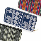 LADIES NEW 19cm FABRIC ZIPPED PURSE CARDS NOTES CASH COIN TRIBAL STRIPE ELEPHANT