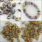 Czech Crystal Gold Platinum Rondelle Spacer European Charm Beads 10mm 12mm