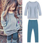 2PCS Toddler Kids Baby Girls Outfits T-shirt Tops Dress+ Long Pants Clothes 2-7T