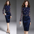 Women's Blue Floral Office Ladies Cocktail Party Midi Pencil Dress Size 6 To 14