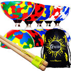 JESTER Ball Bearing Diabolos Set + Wooden Diabolo Handsticks, Diablo String +Bag