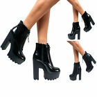 Womens Ladies New Black Platform Chunky Block High Heel Biker Ankle Boots Size