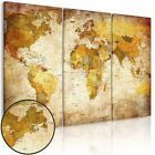 3Pcs  Unframed Canvas Prints Picture World Map HD Wall Art Painting Colorful