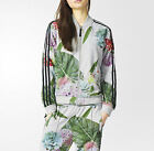 ADIDAS Originals Women's Grey Marl Floral Print Training Track Top Jacket XS M L