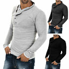 Cool Mens Stylish Muscle Polo Shirts V Neck Slim Fit Long Sleeve T-Shirt Tops UK