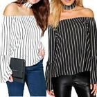 Womens Ladies Striped Choker Off Shoulder Bell Sleeve Swing Top Blouse Bardot
