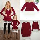 Mother Daughter Lace Long Sleeve Dress Family Outfit Clothes Womens Girls Dress
