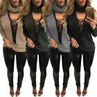 Womens Choker High Neck Knitted Sweater Lace-up Long Sleeve Casual Top Jumper