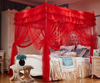 Red Four Corner Post Bedding Curtain Canopy Mosquito Net Twin Queen Size
