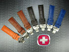 21mm VICTORINOX SWISS ARMY LEATHER STRAP CAVALRY Deployment BAND Brown Blue 21