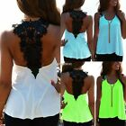 Fashion Womens Summer Casual Lace Vest Tank Sleeveless T-Shirt Blouse Beach N98B