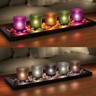 Serenity 5 Piece Tealight Candle Set With Genuine River Rocks