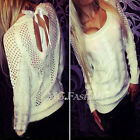 UK Womens Backless Long Sleeve Hollow Knitted Sweater Blouse Pullover Jumper Top