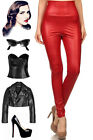 50s Style Grease HIGH WAIST Matte Lipstick RED Vegan Leatherish PINUP Leggings