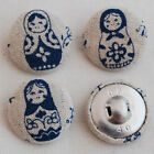 3 Handmade Fabric Covered Sewing Buttons - Blue Red Purple Russian Doll - 2.5cm
