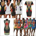 Women Traditional African Ethnic Print Dashiki Short Sleeve Bodycon Shirt Dress