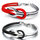Love Infinity Stainless Steel Buckle Men's Women Leather Bracelet Cuff Bangle
