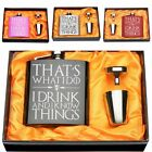Engraved I DRINK AND I KNOW 6OZ Hip Flask Set Stainless Steel Holiday Gift Box